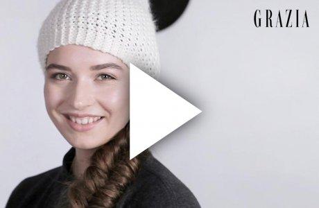 Fischgrätenzopf mit Mütze / Grazia Magazin