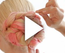 Twisted hair-do with pink extensions